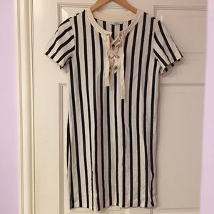 ef66b6d97a Zara Dresses | Nwt Vertical Striped Laceup Dress | Poshmark